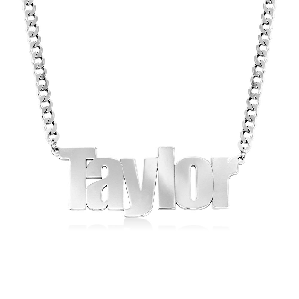 Large Custom Name Necklace with Gourmet Chain in Sterling Silver