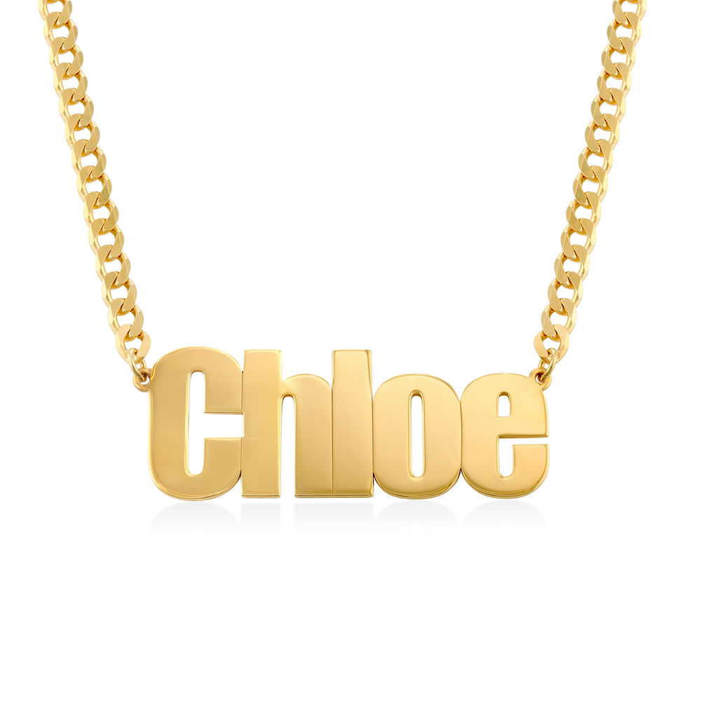 Large Custom Name Necklace with Gourmet Chain in Gold Vermeil