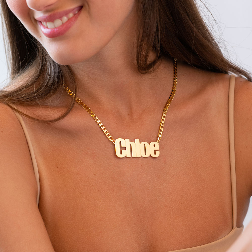 Large Custom Name Necklace with Gourmet Chain in Gold Vermeil - 1