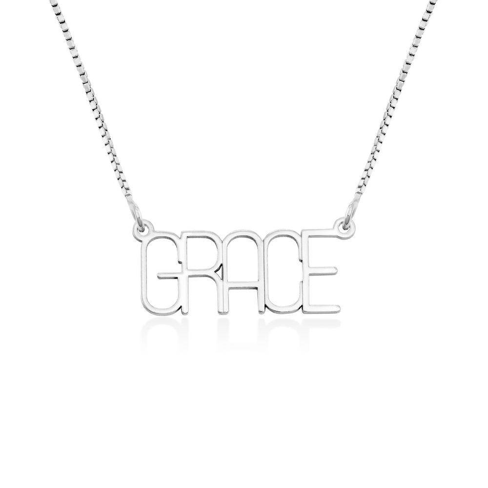 Capital Letter Name Necklace with Box chain in Sterling Silver