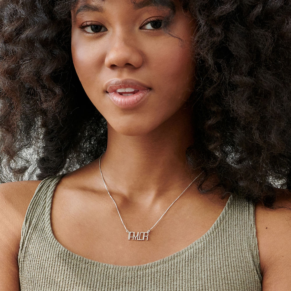 Capital Letter Name Necklace with Box chain in Sterling Silver - 1