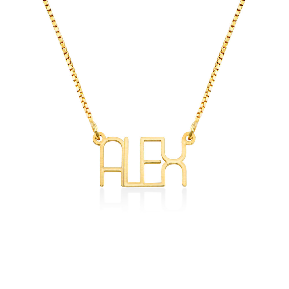Capital Letter Name Necklace with Box chain in Gold Plated
