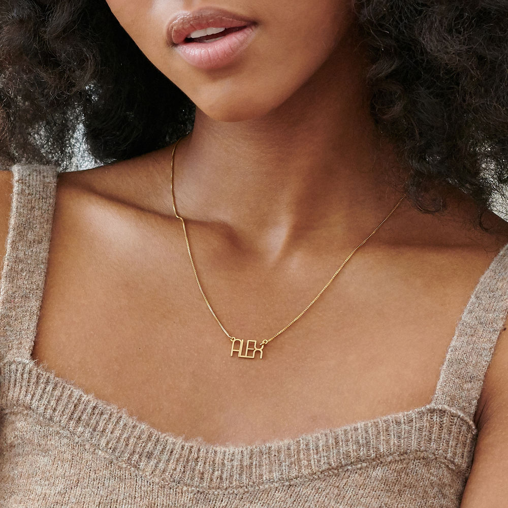 Capital Letter Name Necklace with Box chain in Gold Plated - 2