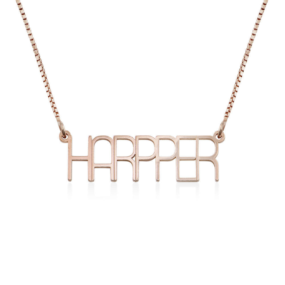 Capital Letter Name Necklace with Box chain in Rose Gold Plated