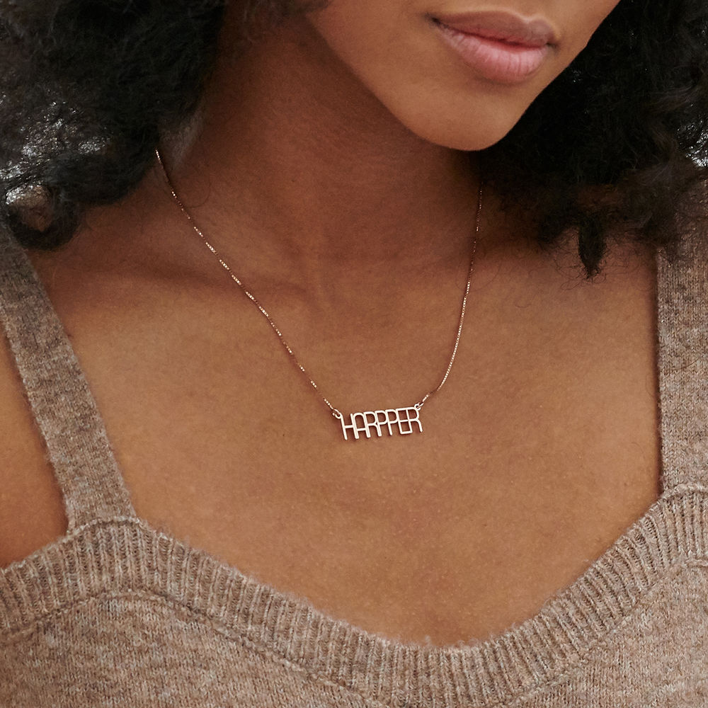 Capital Letter Name Necklace with Box chain in Rose Gold Plated - 1