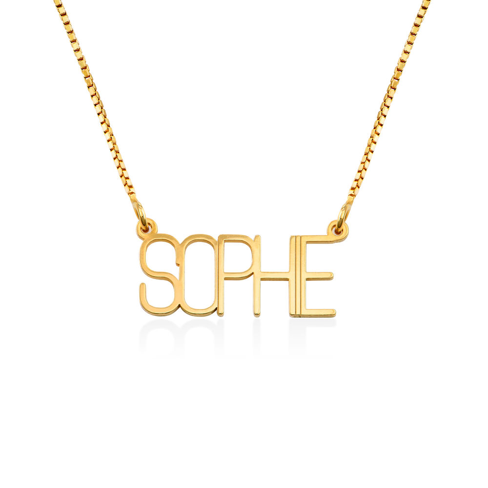 Capital Letter Name Necklace with Box chain in Gold Vermeil
