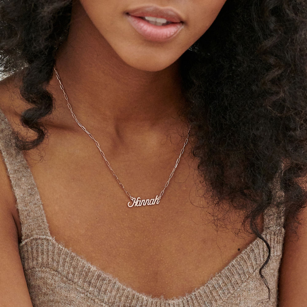 Chain Link Script Name Necklace in Rose Gold Plating - 2