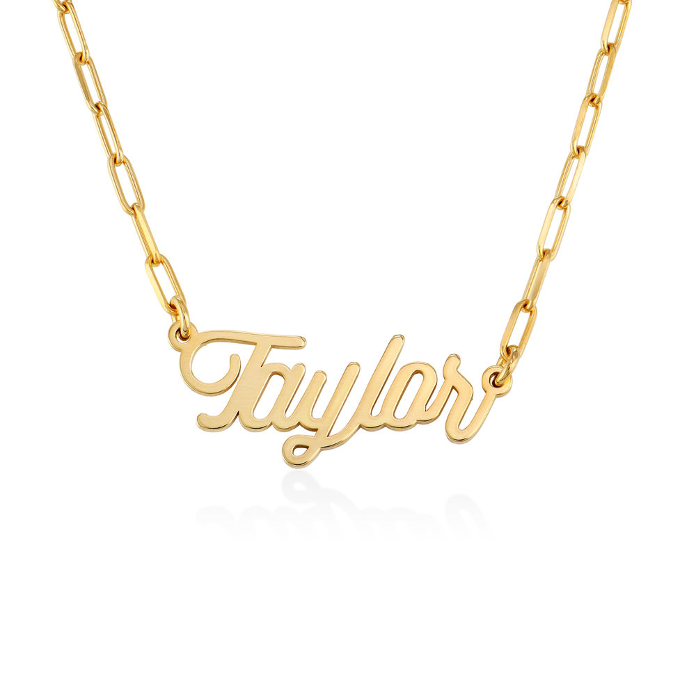 Chain Link Script Name Necklace in Gold Vermeil