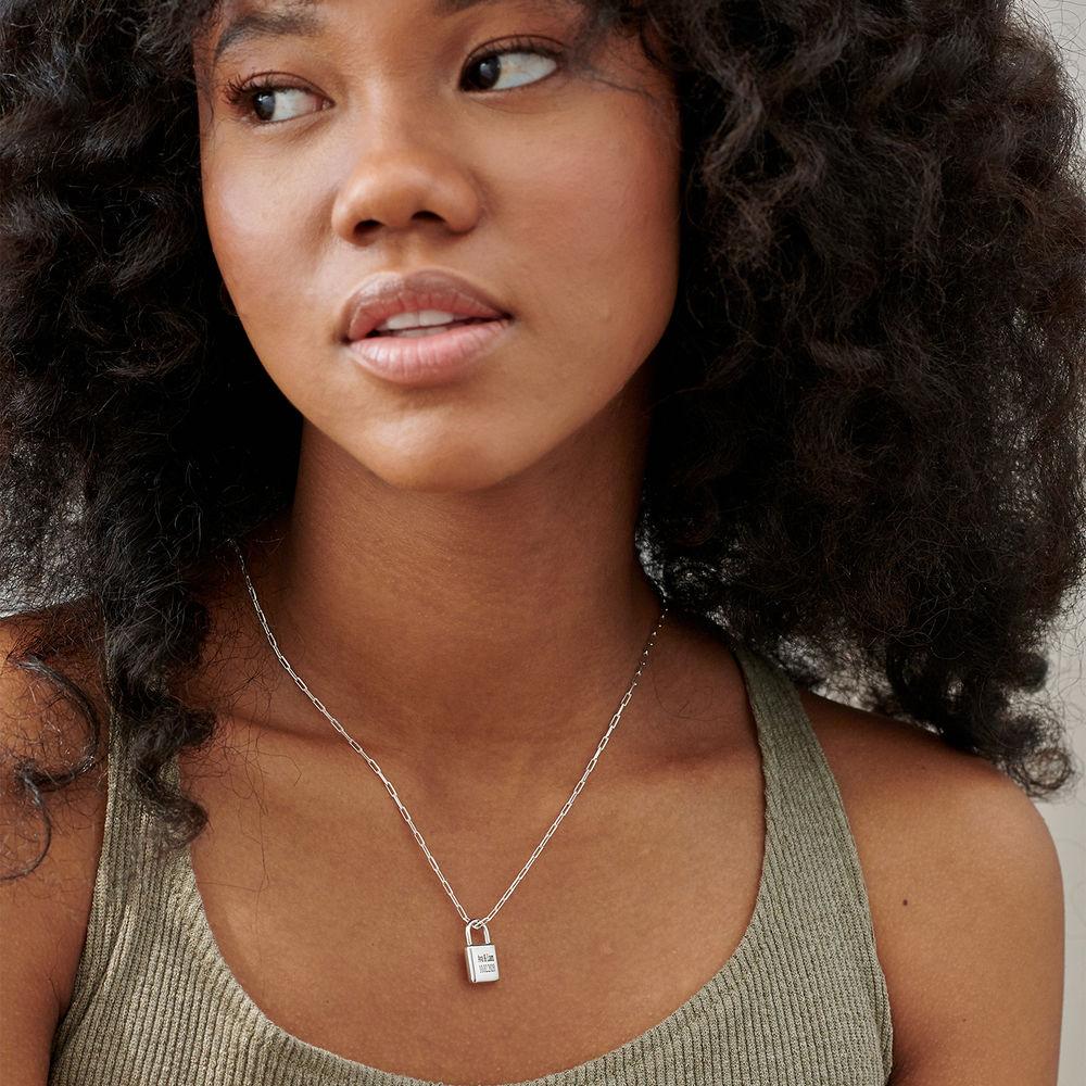 Allie Padlock Link Necklace in Sterling Silver - 1
