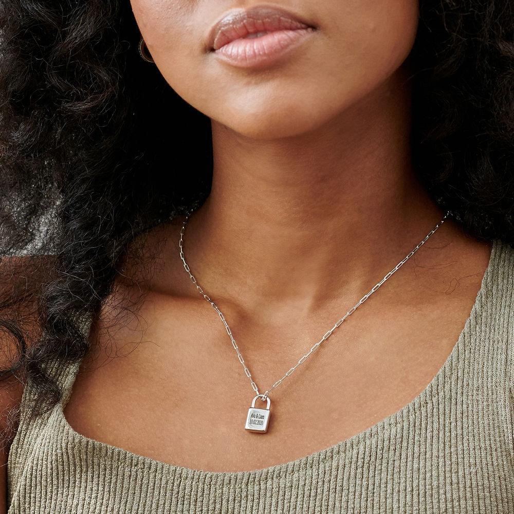 Allie Padlock Link Necklace in Sterling Silver - 2