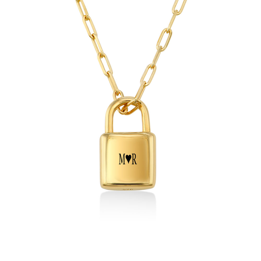 Allie Padlock Link Necklace in Gold Plating