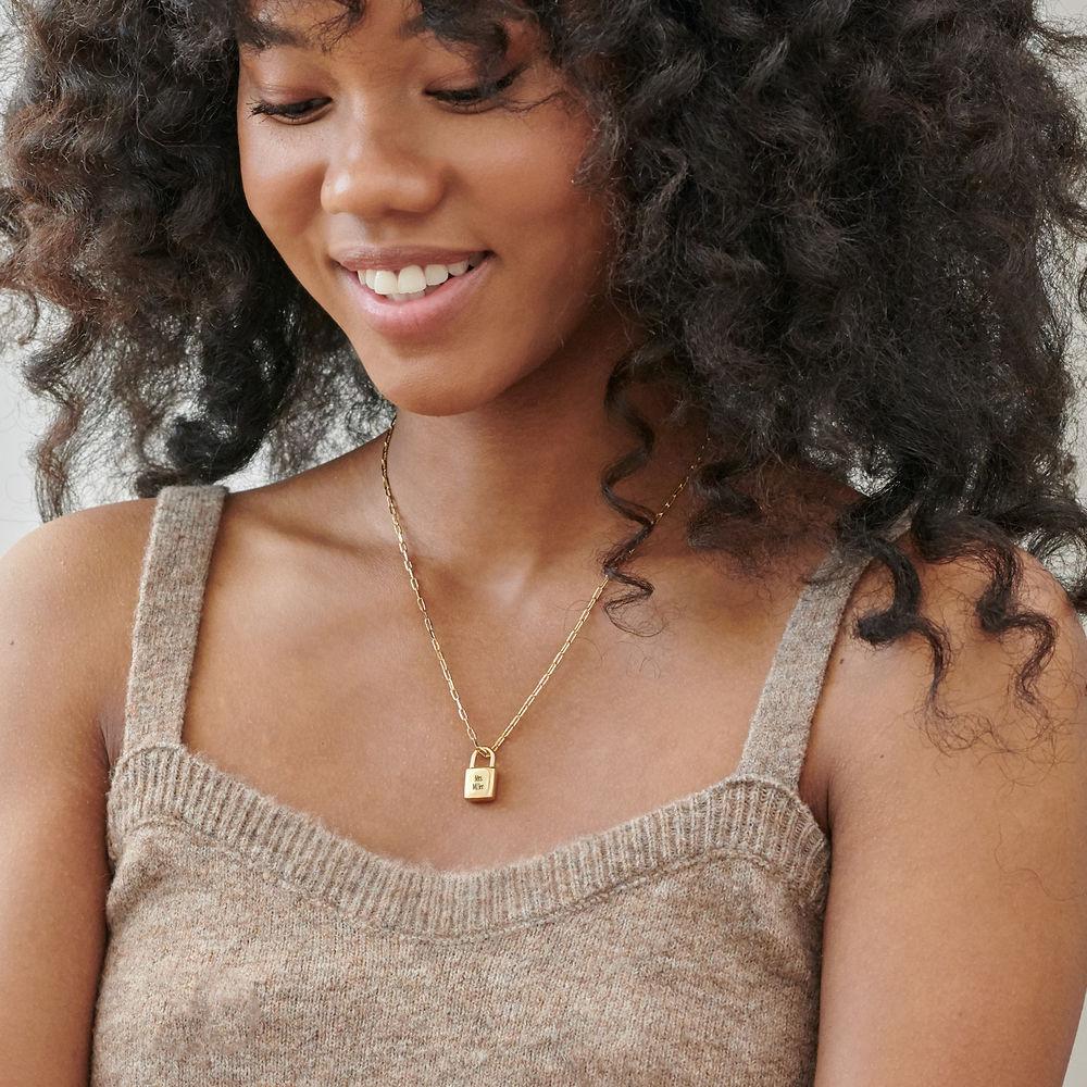Allie Padlock Link Necklace in Gold Plating - 1