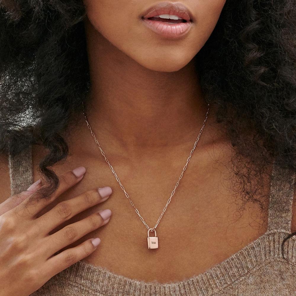 Allie Padlock Link Necklace in Rose Gold Plating - 2
