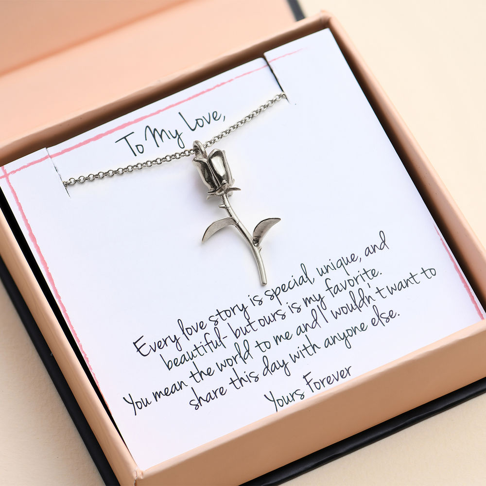 Rose Necklace in Sterling Silver with Prewritten Gift Note - 1