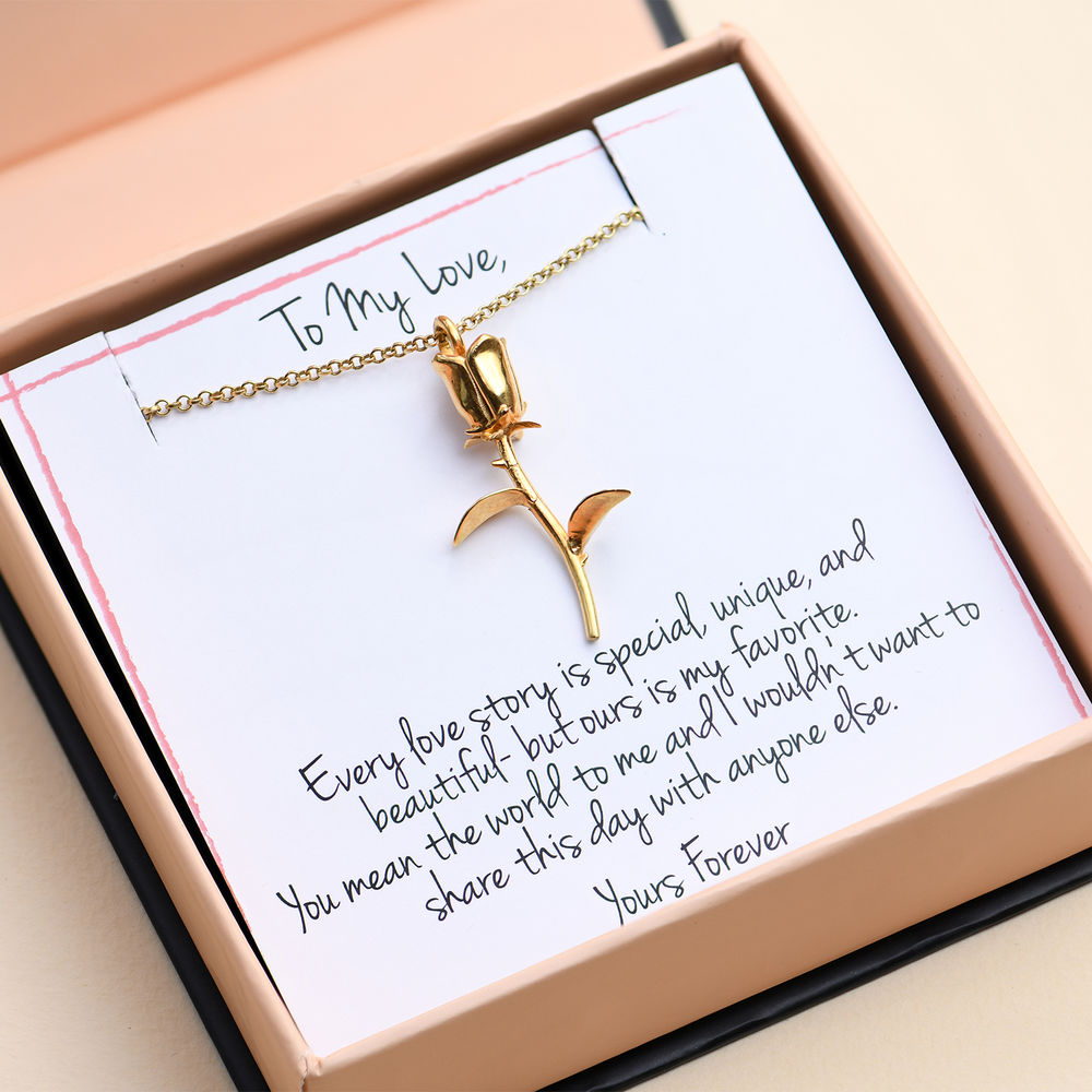 Rose Necklace in Gold Plating with Prewritten Gift Note - 1