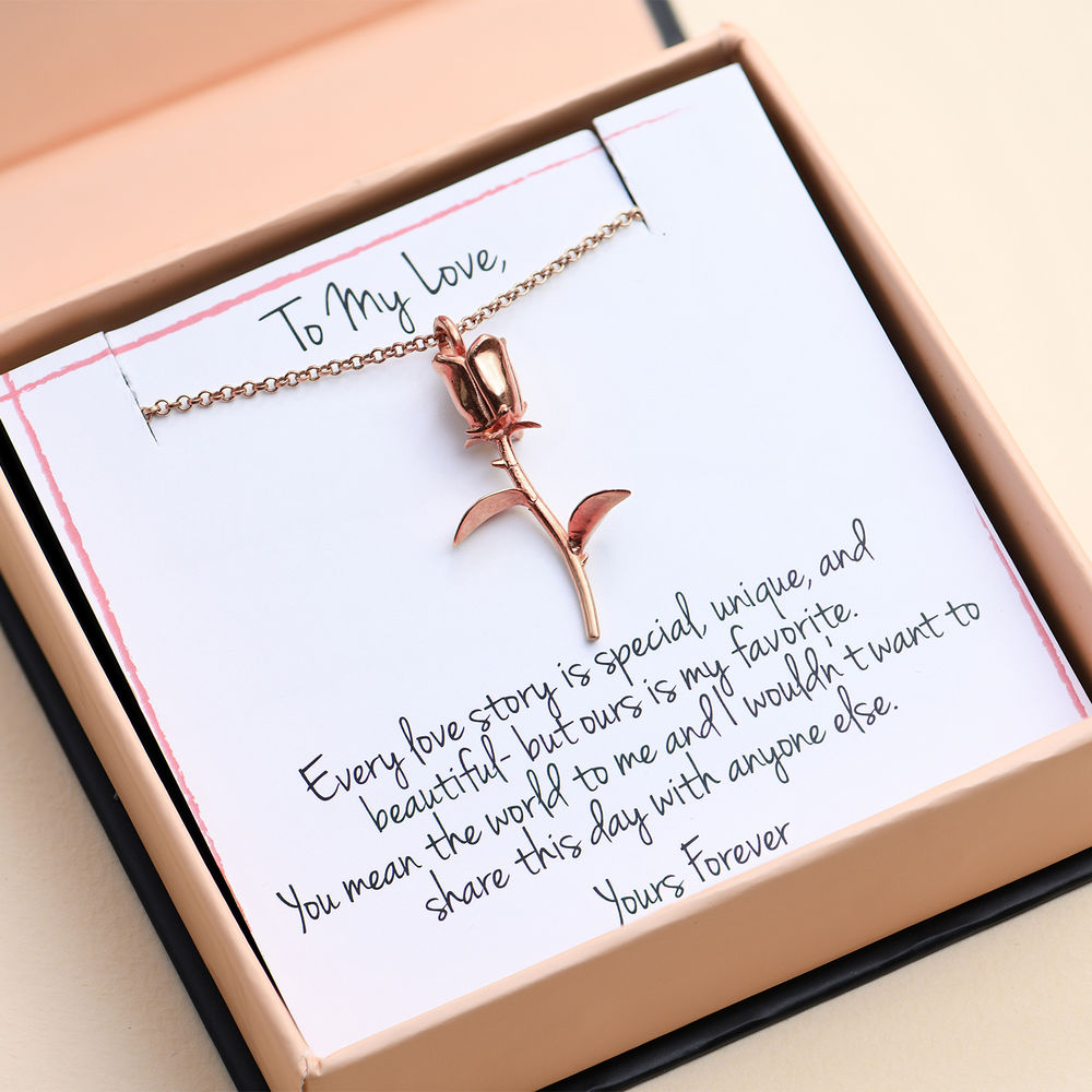 Rose Necklace in Rose Gold Plating with Prewritten Gift Note - 1