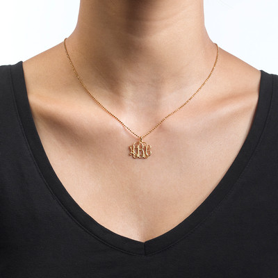 Small Monogram Necklace in 18k Gold Plating - 1