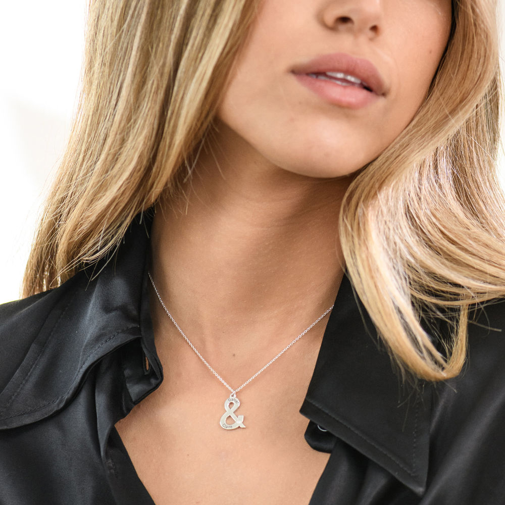 & Sign Custom Necklace in Sterling Silver with Diamond - 1