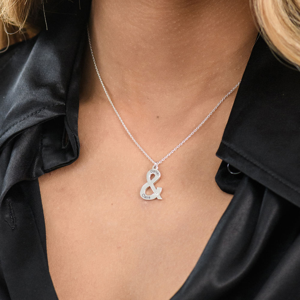 & Sign Custom Necklace in Sterling Silver with Diamond - 2