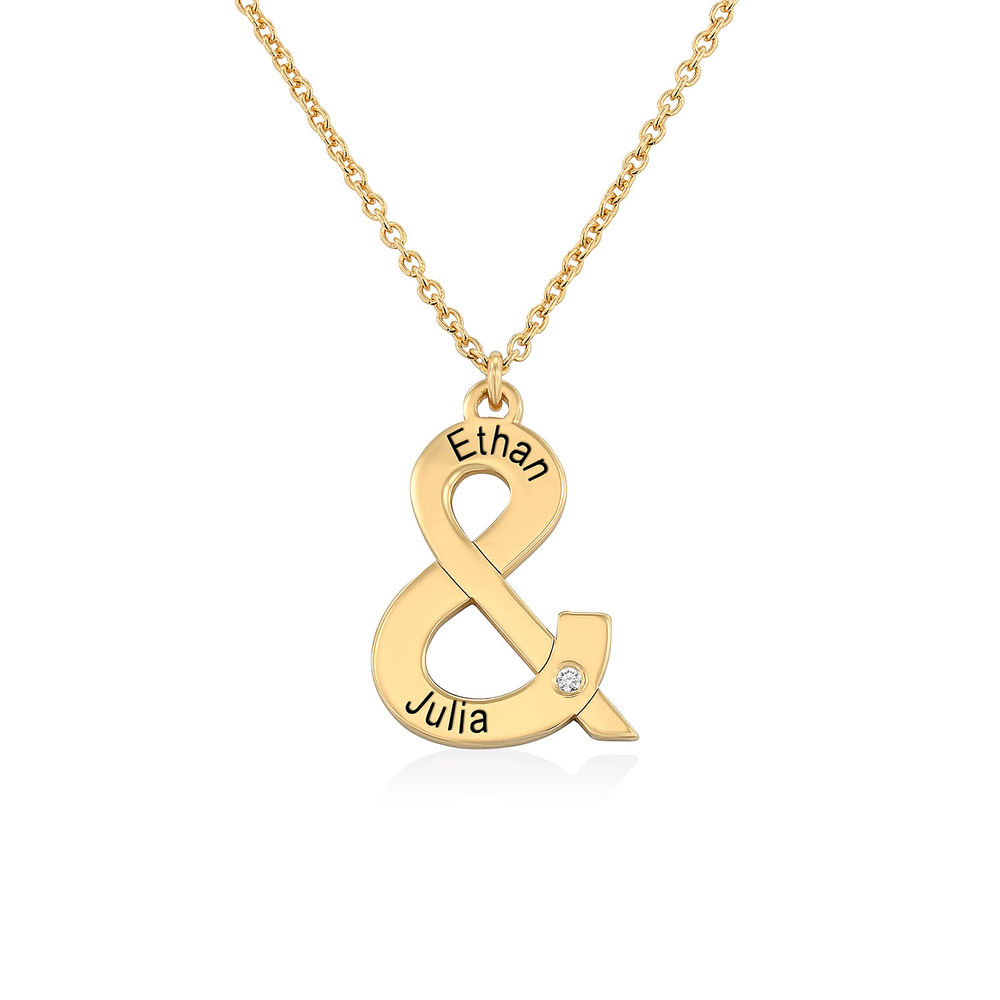 & Sign Custom Necklace in Gold Plating with Diamond