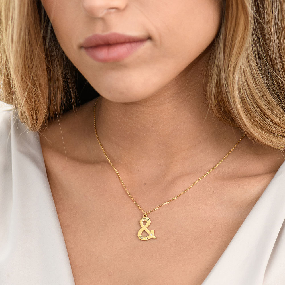 & Sign Custom Necklace in Gold Plating with Diamond - 1