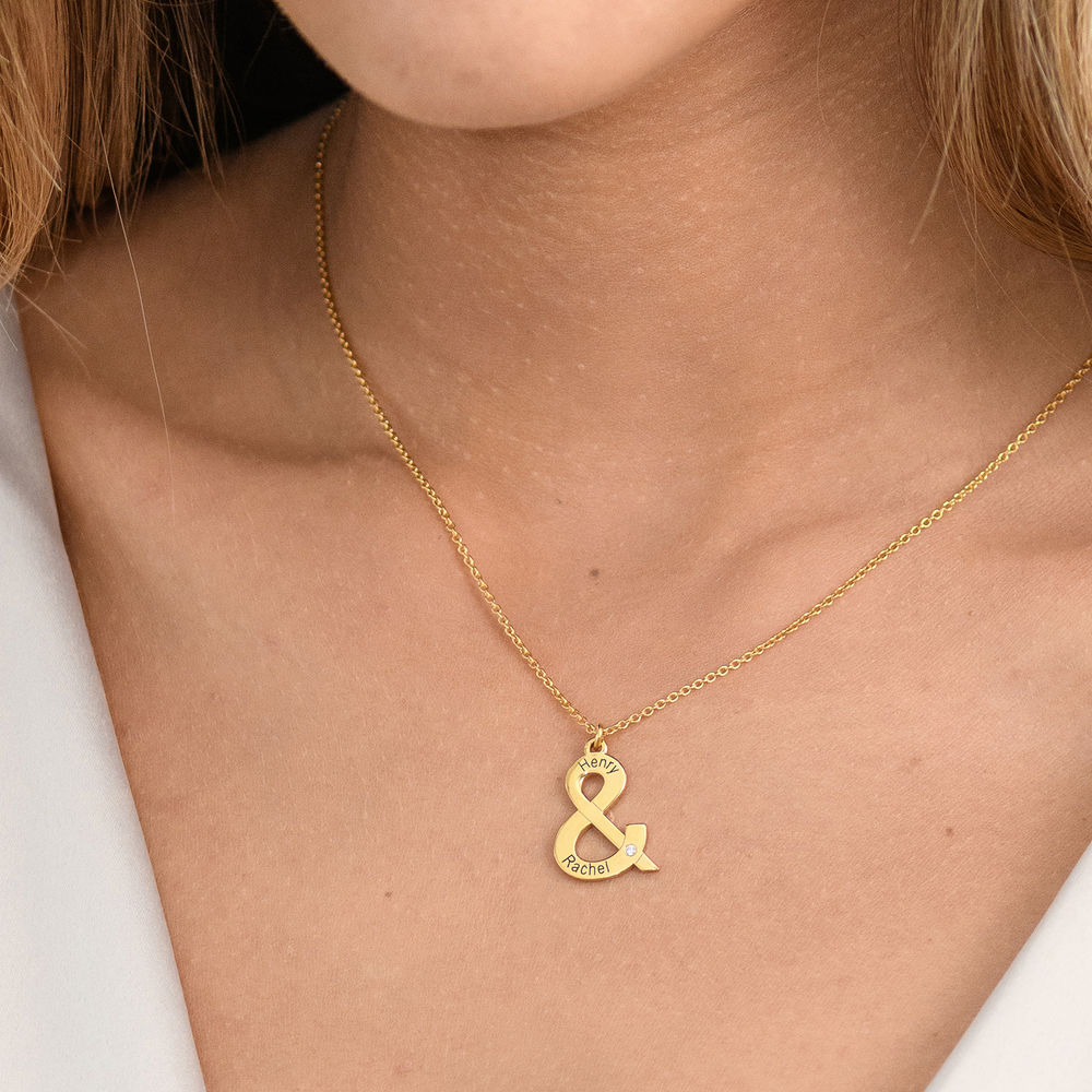 & Sign Custom Necklace in Gold Plating with Diamond - 2