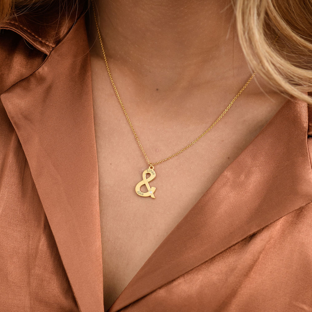 & Sign Custom Necklace in Gold Vermeil with Diamond - 2