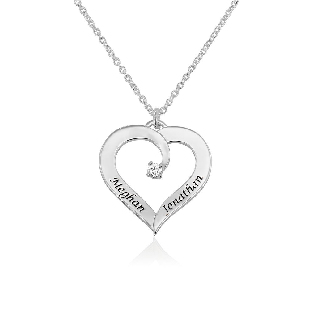 Fine Diamond Custom Heart Necklace in Sterling Silver