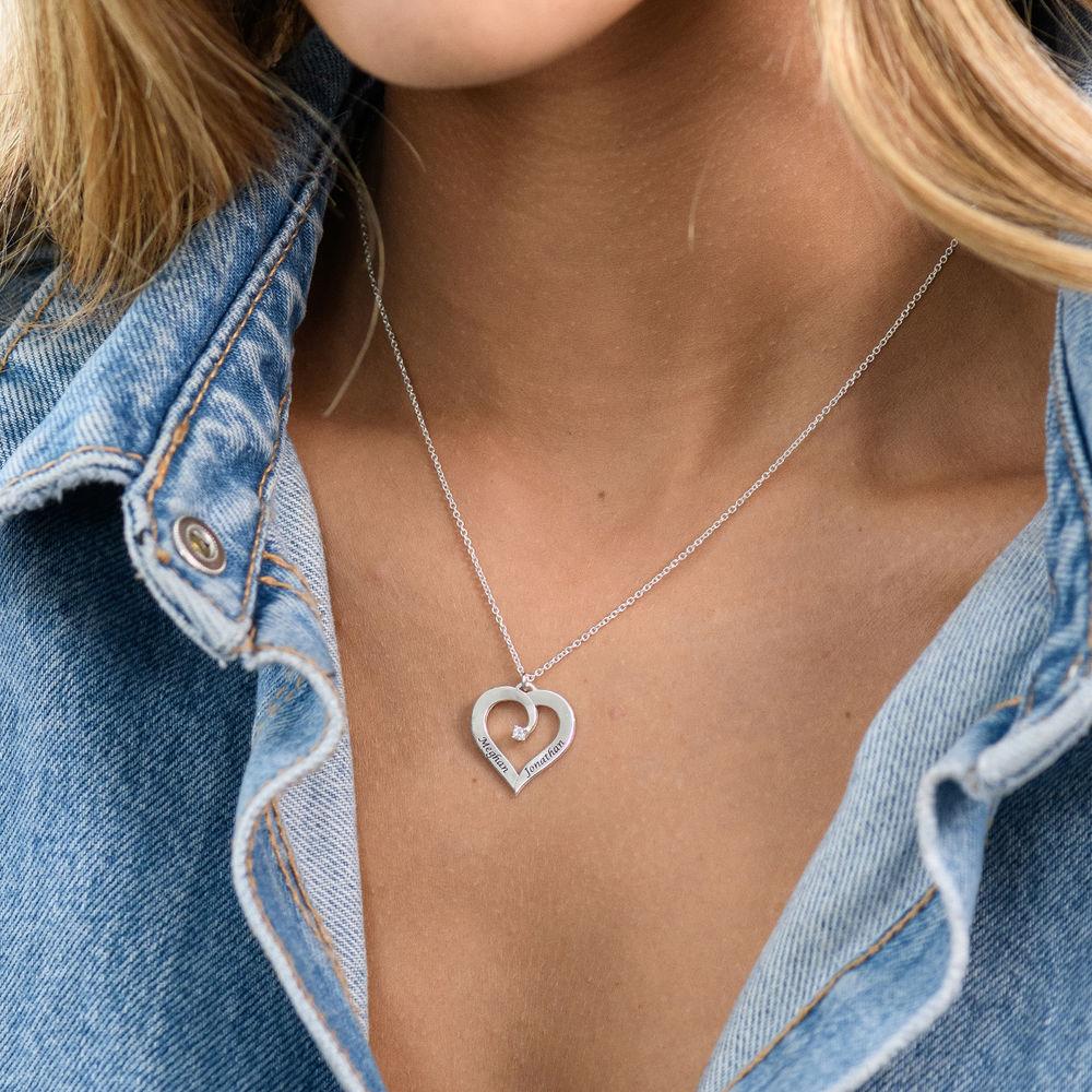 Fine Diamond Custom Heart Necklace in Sterling Silver - 5