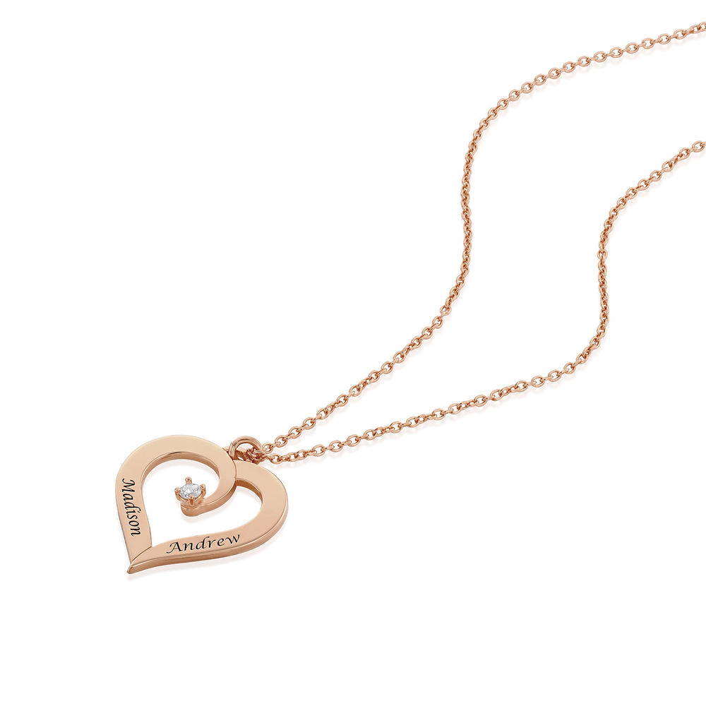 Fine Diamond Custom Heart Necklace in Rose Gold Plating - 1