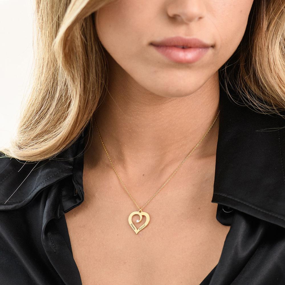 Fine Diamond Custom Heart Necklace in Gold Vermeil - 2