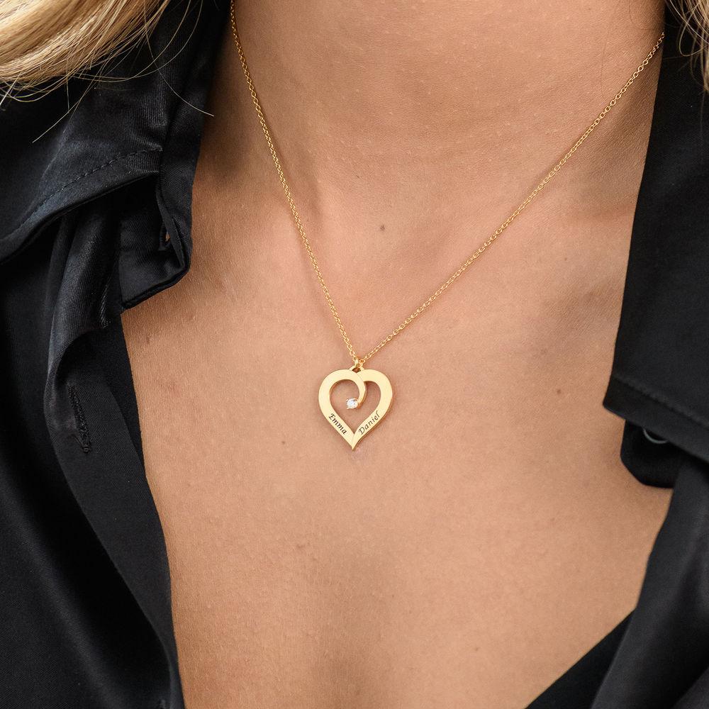 Fine Diamond Custom Heart Necklace in Gold Vermeil - 3