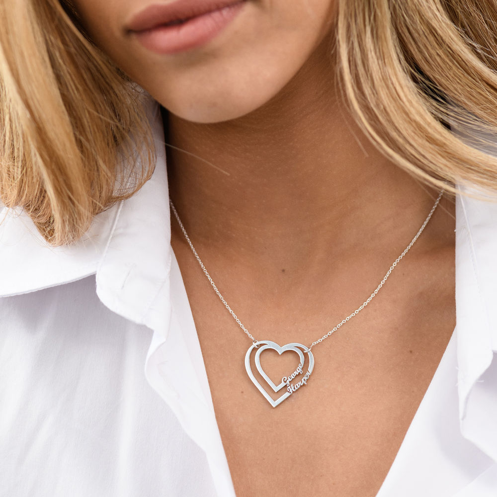 Personalized Heart Necklace with Two Names in Sterling Silver - 2