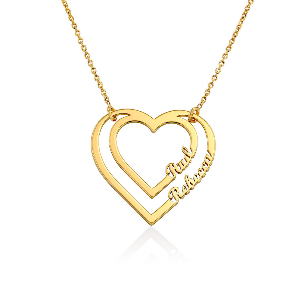 Personalized Heart Necklace with Two Names in Gold Plating