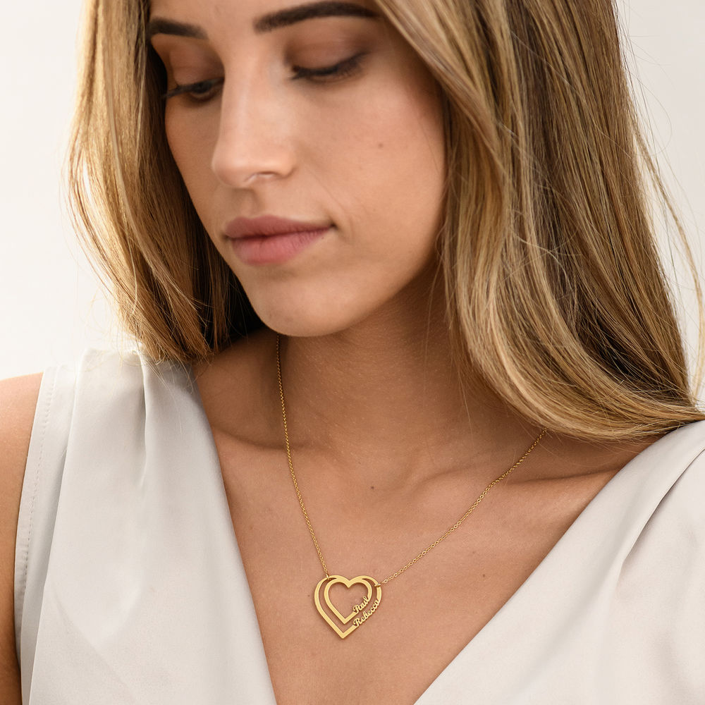 Personalized Heart Necklace with Two Names in Gold Plating - 1