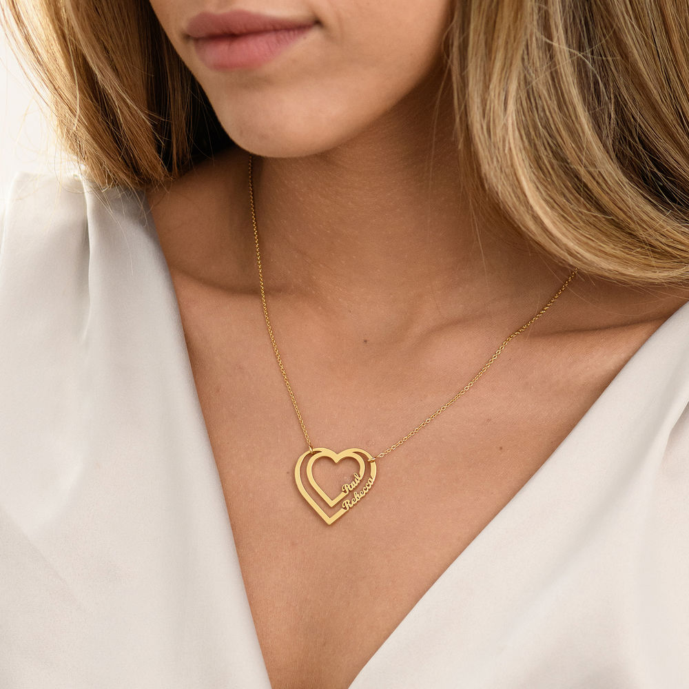 Personalized Heart Necklace with Two Names in Gold Plating - 2