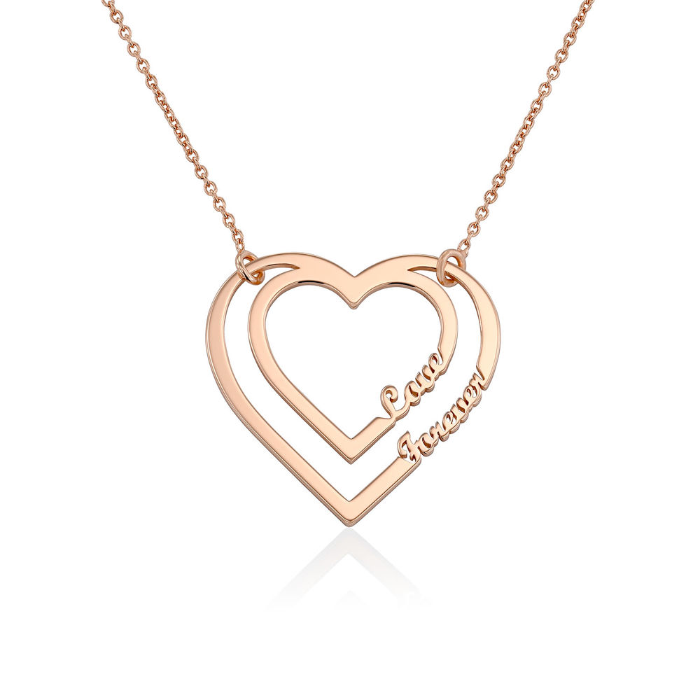 Personalized Heart Necklace with Two Names in Rose Gold Plating