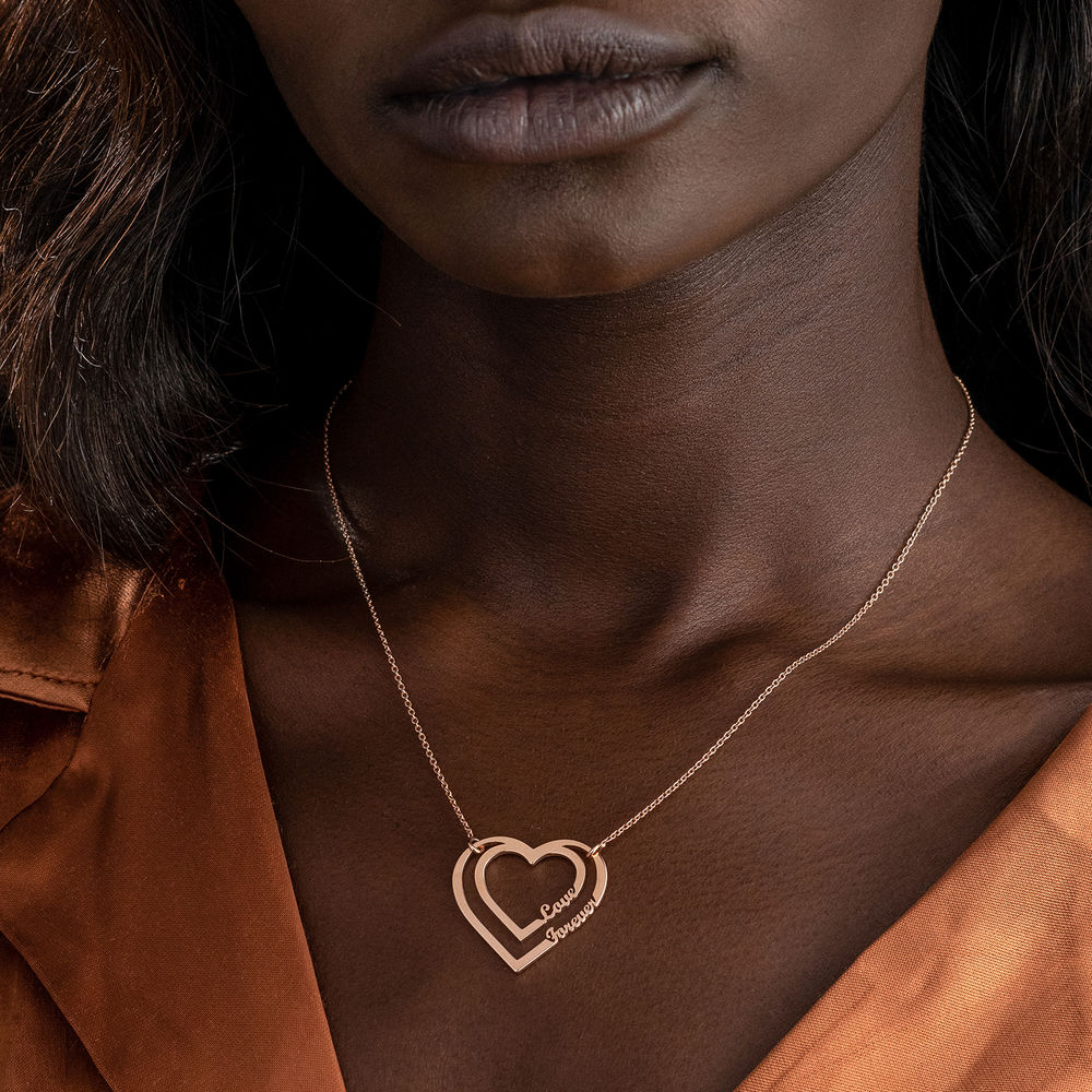 Personalized Heart Necklace with Two Names in Rose Gold Plating - 4
