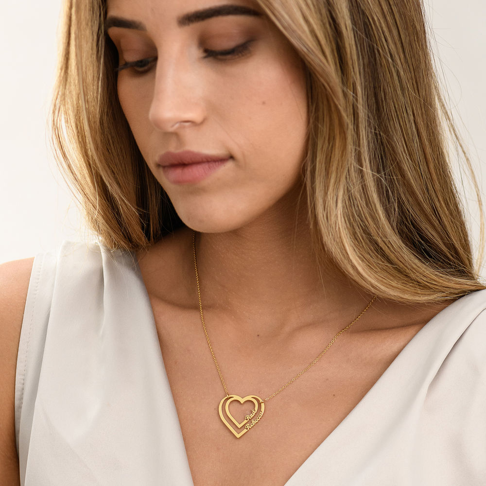 Personalized Heart Necklace with Two Names in Gold Vermeil - 1