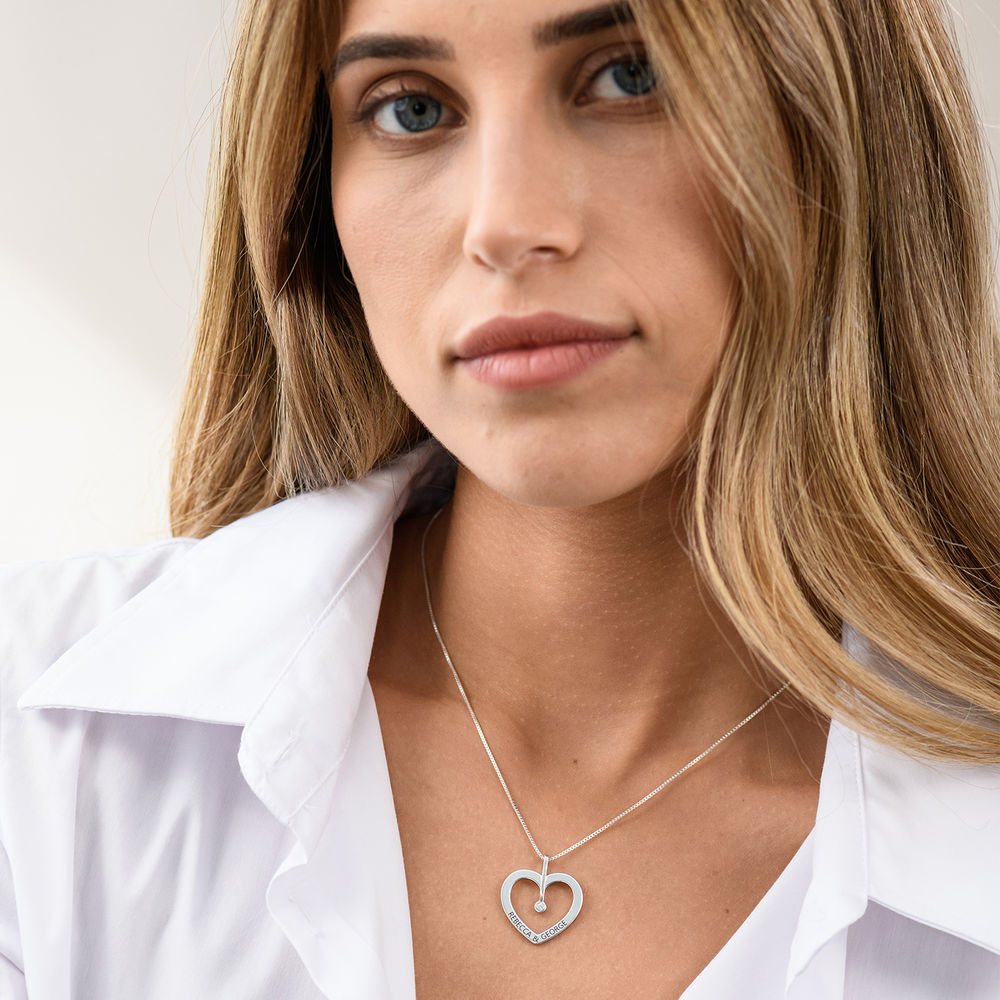 Personalized Love Necklace with Diamond in Sterling Silver - 2