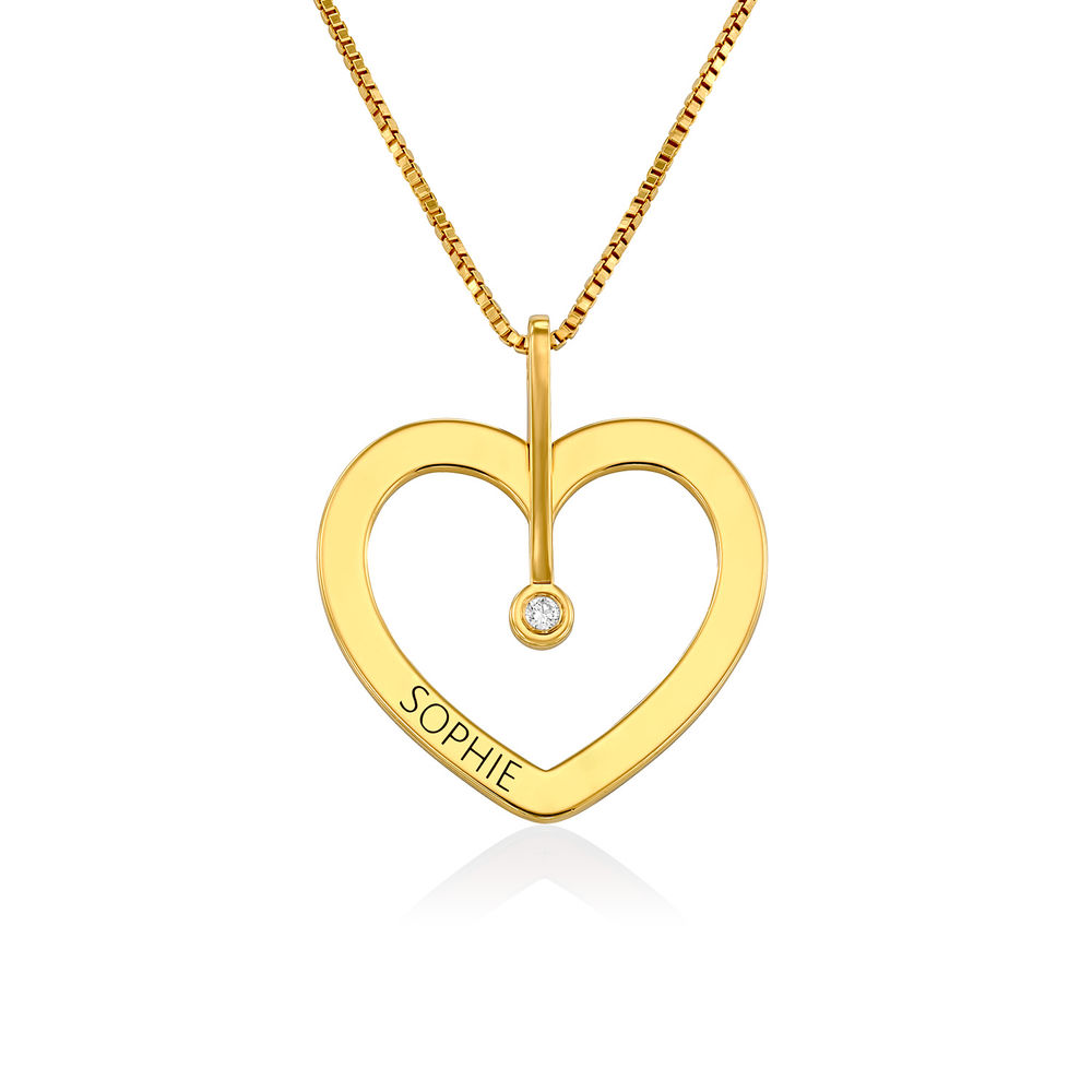 Personalized Love Necklace with Diamond in Gold Plating - 1