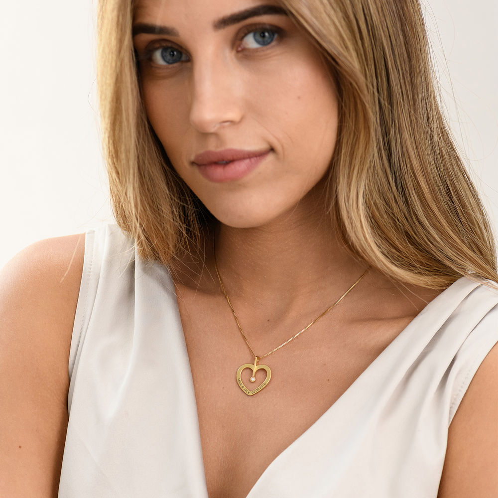 Personalized Love Necklace with Diamond in Gold Plating - 2