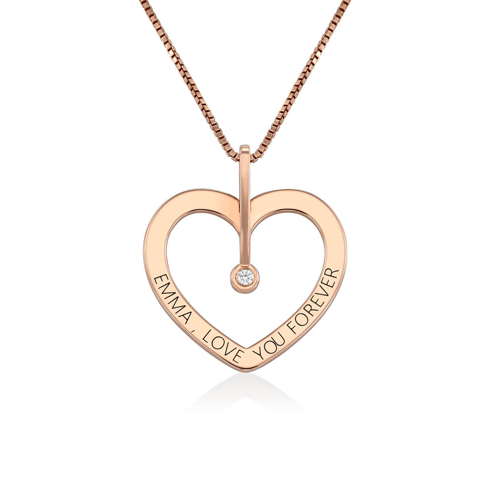 Personalized Love Necklace with Diamond in Rose Gold Plating