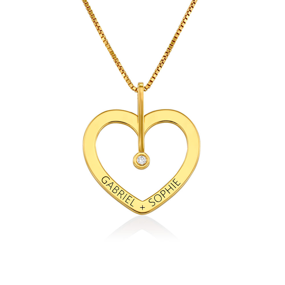 Personalized Love Necklace with Diamond in Gold Vermeil