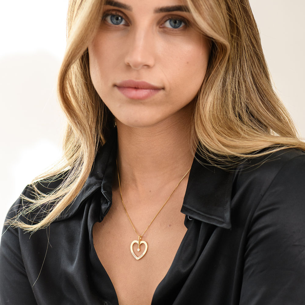 Personalized Love Necklace with Diamond in Gold Vermeil - 2