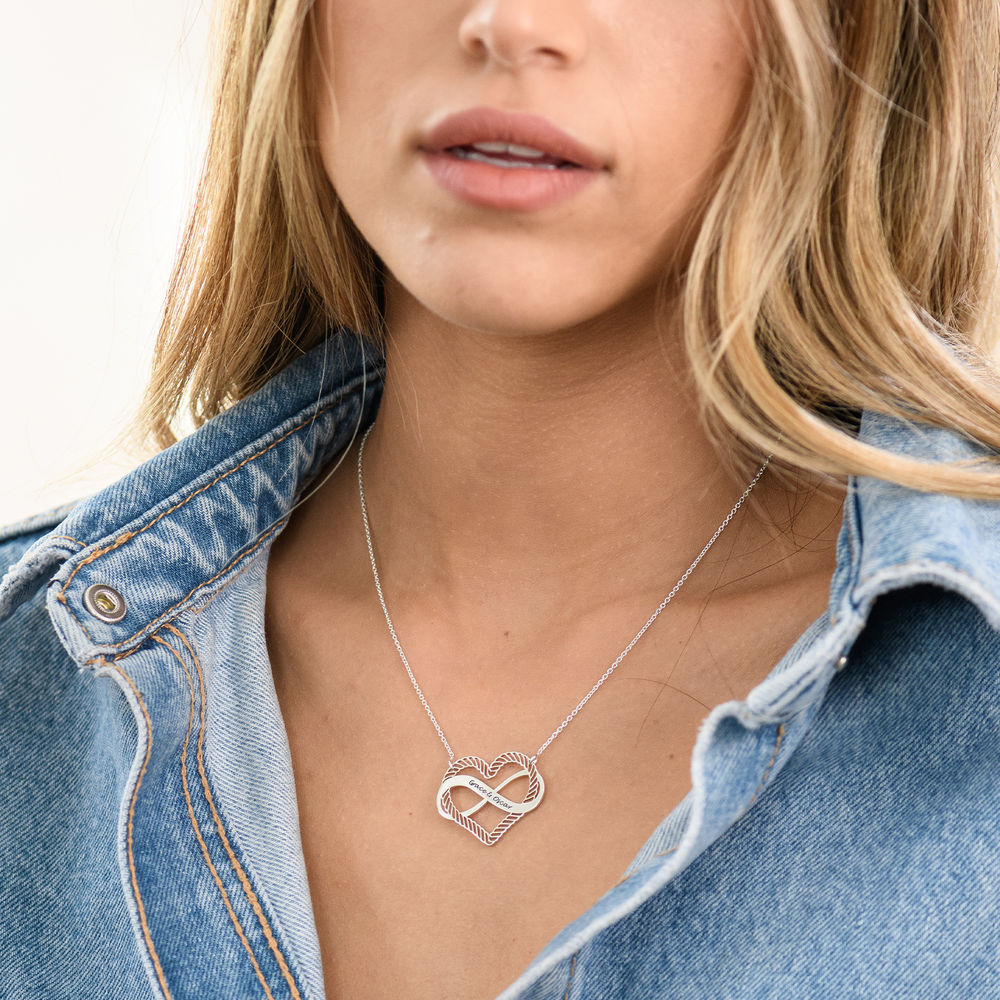 Engraved Heart Infinity Necklace in Sterling Silver - 3