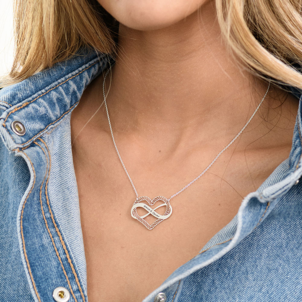 Engraved Heart Infinity Necklace in Sterling Silver - 4