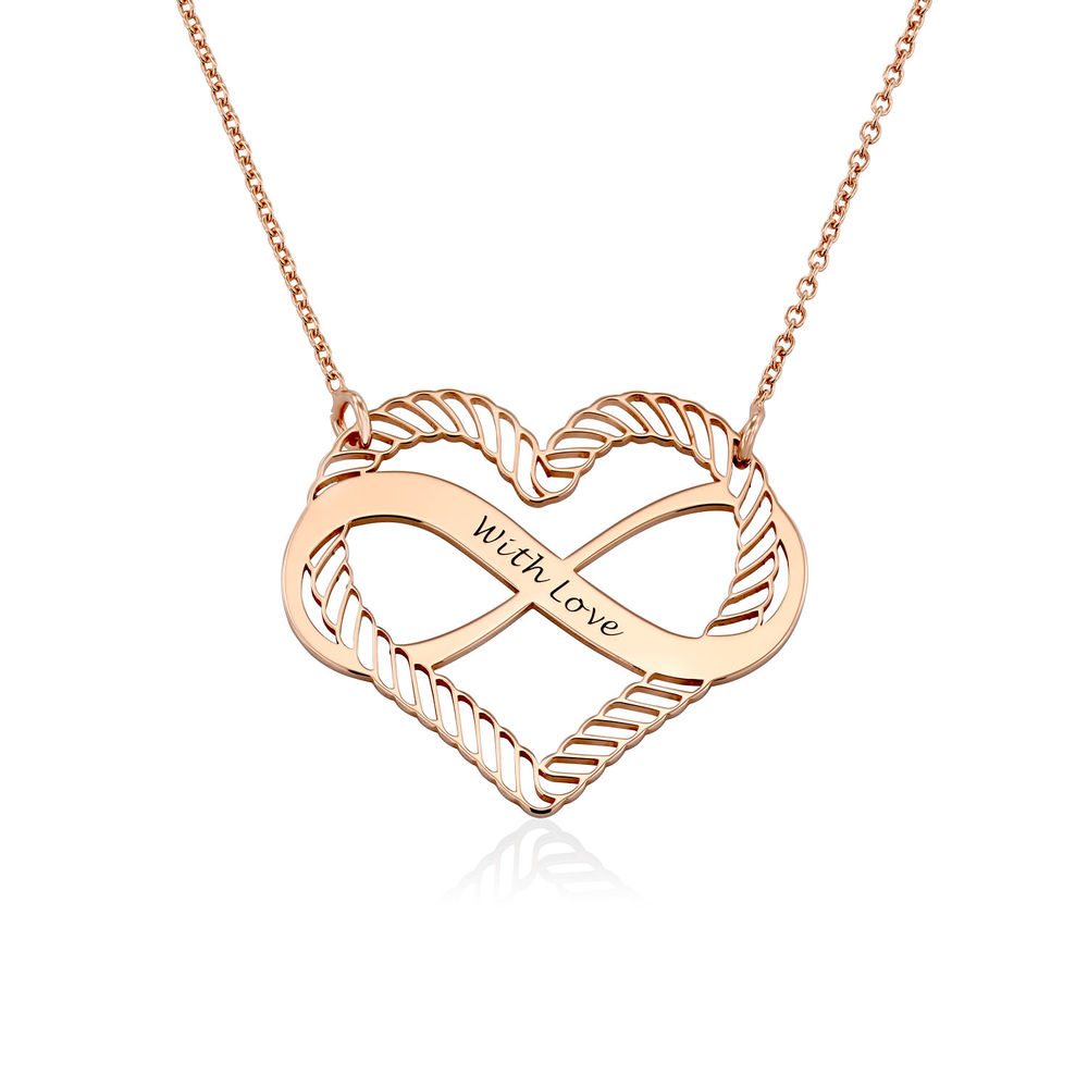 Engraved Heart Infinity Necklace in Rose Gold Plating
