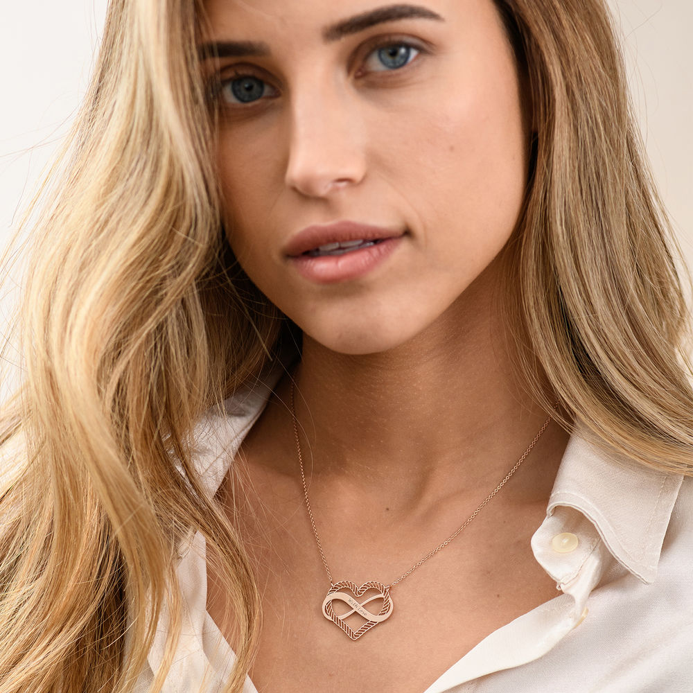 Engraved Heart Infinity Necklace in Rose Gold Plating - 1