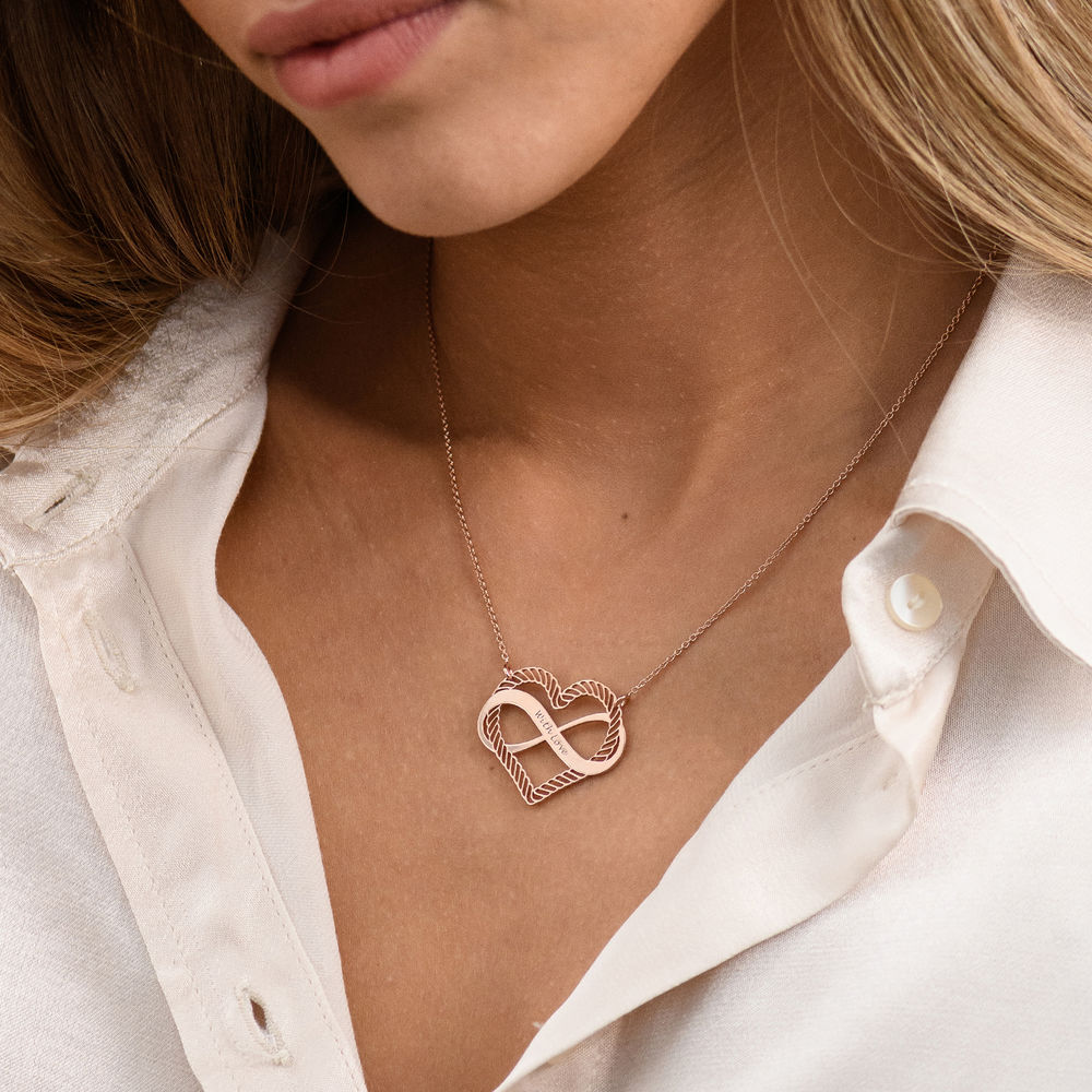 Engraved Heart Infinity Necklace in Rose Gold Plating - 2